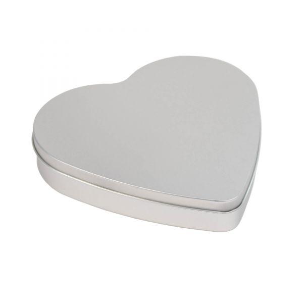 Blechdose mit Deckel Herz, silber, ca. 18 x 17,5 x 3 cm