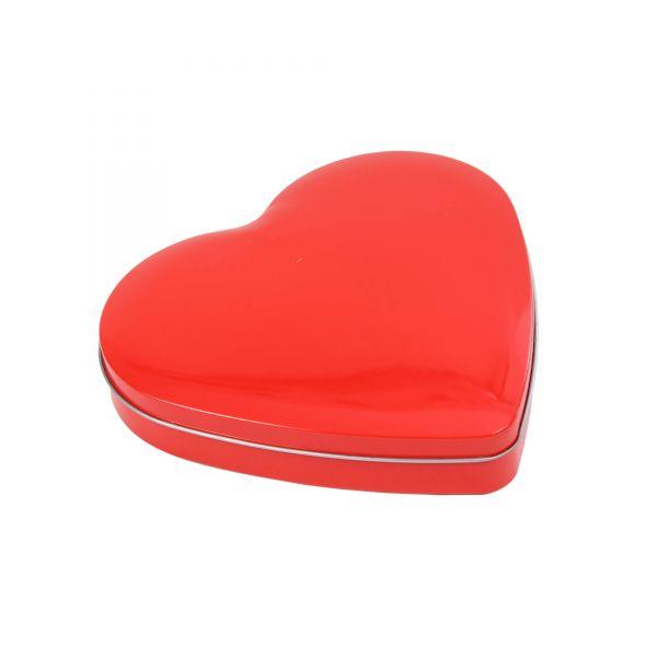 Blechdose mit Deckel Herz, rot, ca. 18 x 17,5 x 3 cm