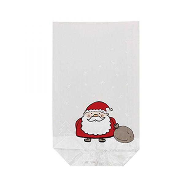 Klarsichtbeutel Weihnachtsmann, ca. 14,5 x 23 cm, 10 Stück, inkl. Verschlussclips