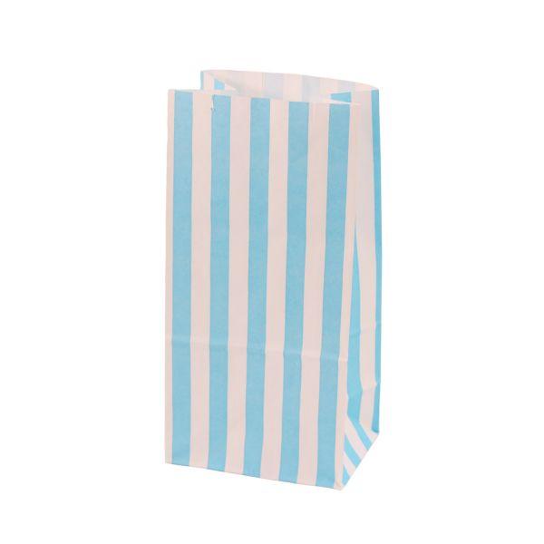 Blockbodenbeutel gestreift 9,8 x 7 x 20 cm, blau/weiß