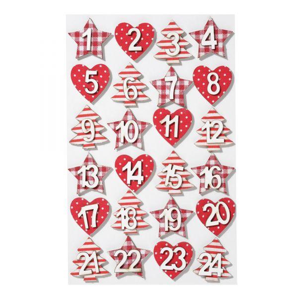 Adventskalenderzahlen 1-24 Holz Stern Herz Baum mit Klebepunkt, rot-weiß