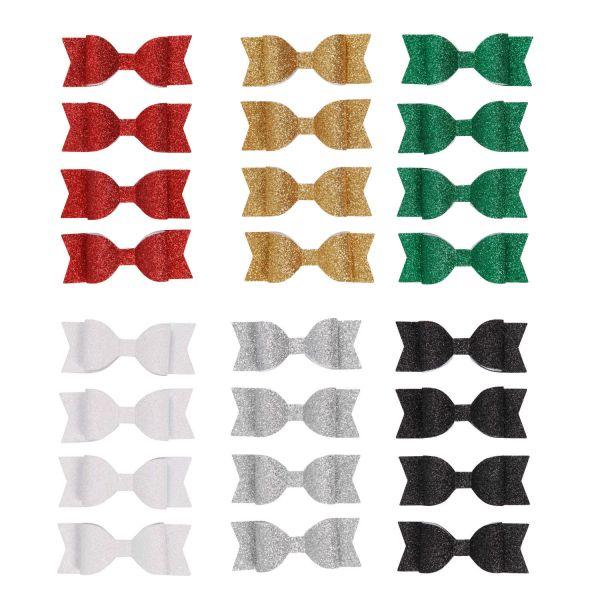 Papierschleife mit Glitter 3,2 x 8,5 cm, 4 Stück