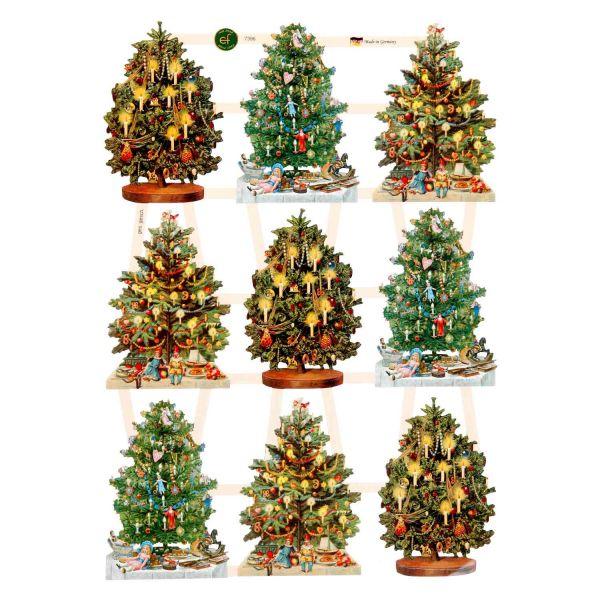 Glanzbilder, Motiv Weihnachtsbaum, 3 Bogen, Poesiebilder Oblaten
