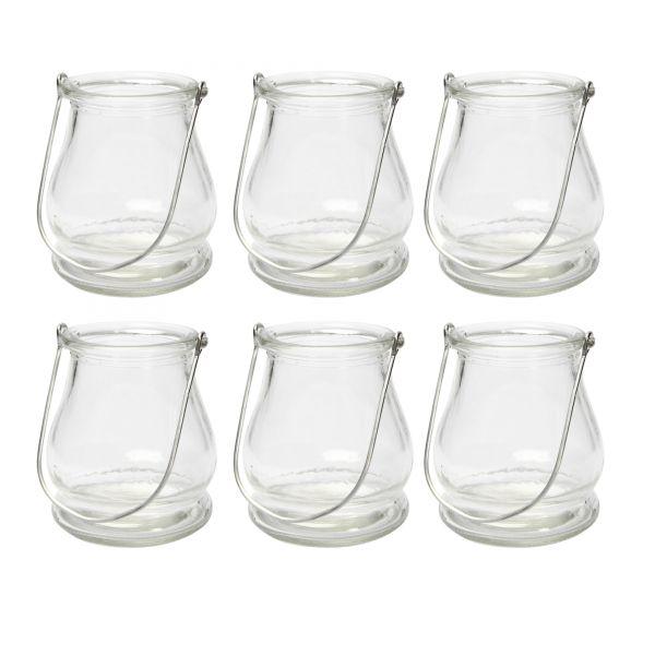 Windlicht Glaslaterne, ca. Ø 9 cm x H 10 cm, 6 Stück