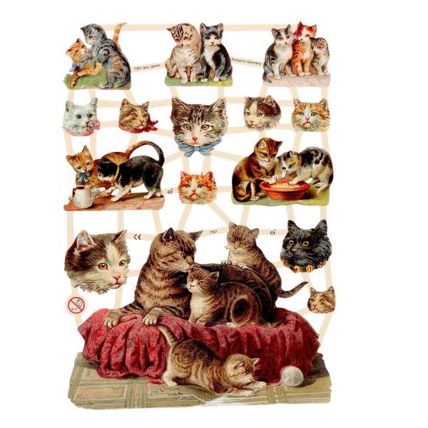 Glanzbilder, Motiv Katzen, 3 Bogen, Poesiebilder Oblaten