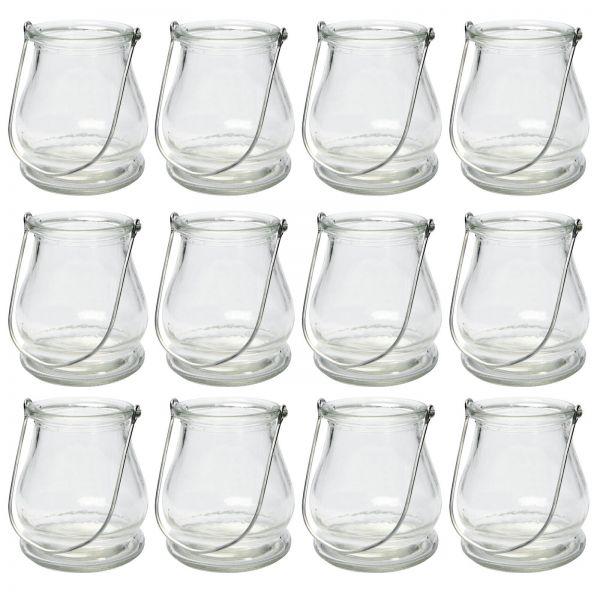 Windlicht Glaslaterne, ca. Ø 9 cm x H 10 cm, 12 Stück