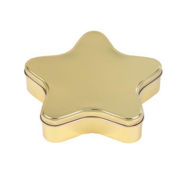 Keksdose Stern, gold, ca. 18,2 x 17,5 x 4 cm