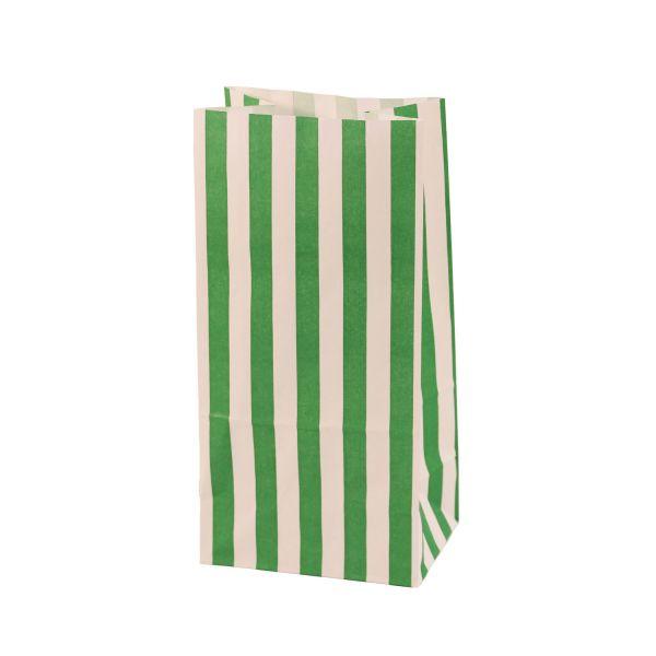 Blockbodenbeutel gestreift 9,8 x 7 x 20 cm, grün/weiß