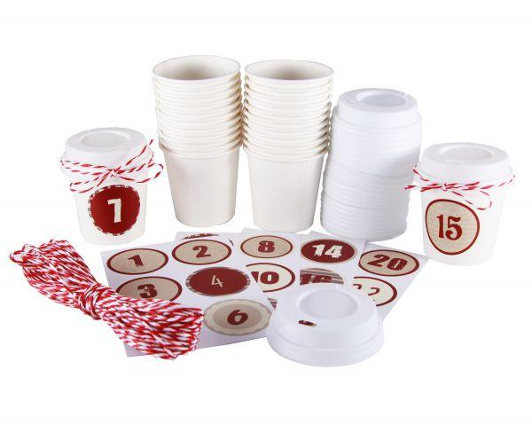 "BODA Adventskalender Set ""Cup"", rot/weiß"