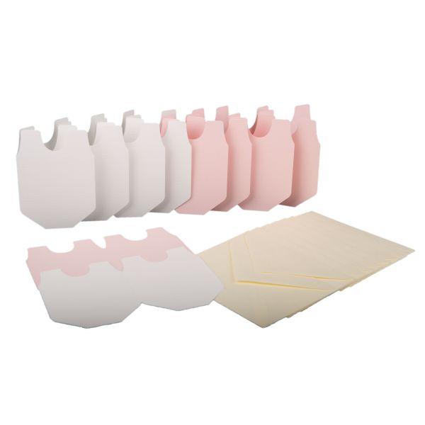 BODA Karten-Set Babystrampler, 20-tlg. rosa/weiß Doppelkarten Umschläge