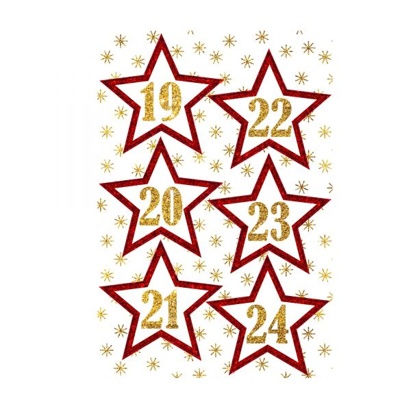 Adventskalender Zahlen Stern rot gold, D ca. cm
