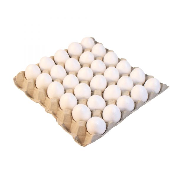 30 Styropor-Eier H 6 cm mit Eierpalette