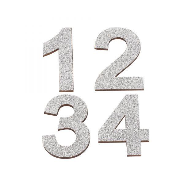Adventszahlen 1-4 Glitter, ca. 5,2 cm, silber