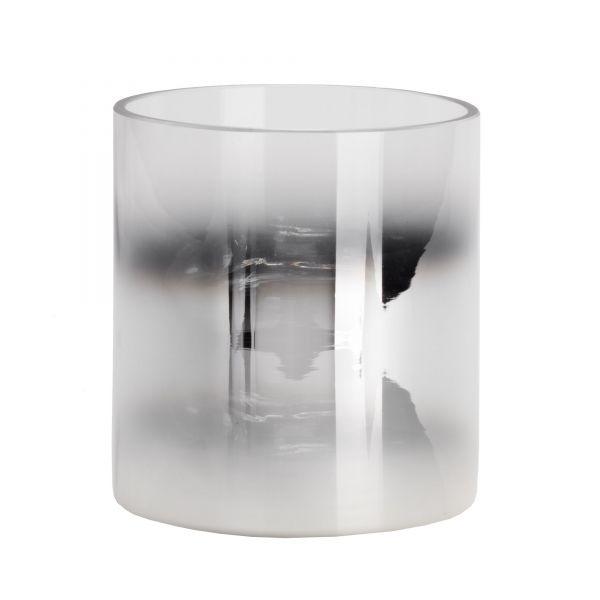 Großer Glaszylinder mit Farbverlauf in Silber, Ø 12 cm, H 13 cm
