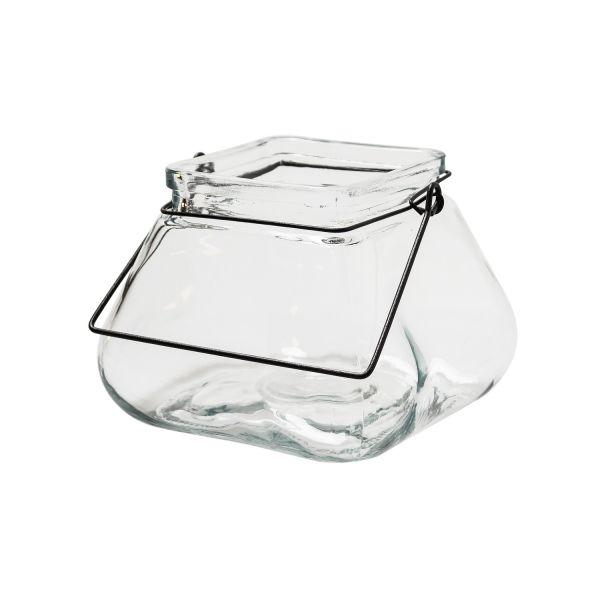 Windlicht Trapez Vase Laterne aus Glas
