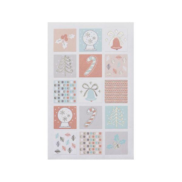 Sticker Weihnachten pastell, 30 Stück