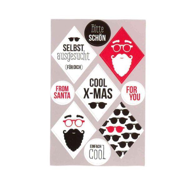 36 Weihnachtsaufkleber Cool X-Mas