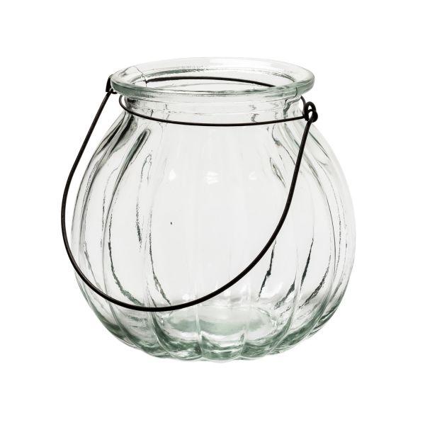 Glaslaterne Windlicht Pumpkin XXL Laterne Vase