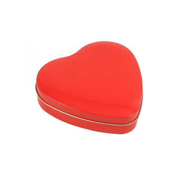Blechdose mit Deckel Herz, rot, ca. 12 x 12 x 3 cm