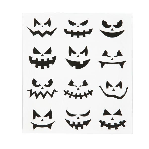 Sticker Kürbisgesicht Halloween klein, 12 Stück sortiert