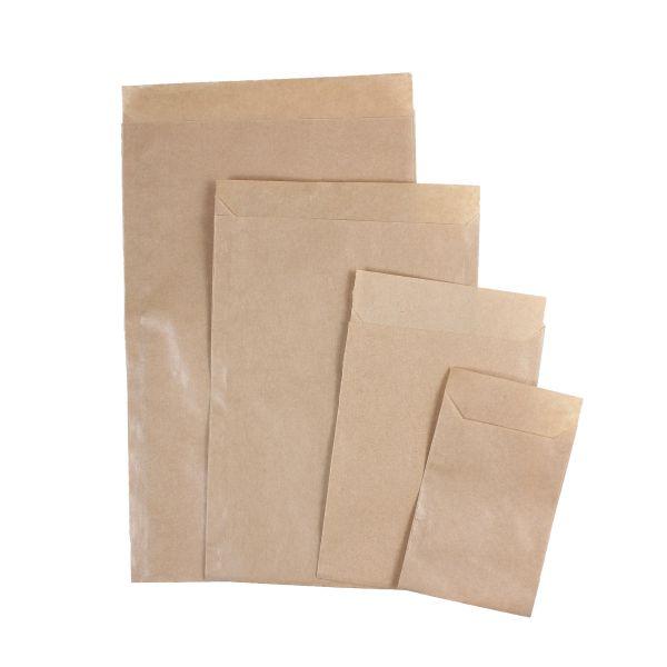 Flachbeutel aus Papier mit Klappe zum Verschließen