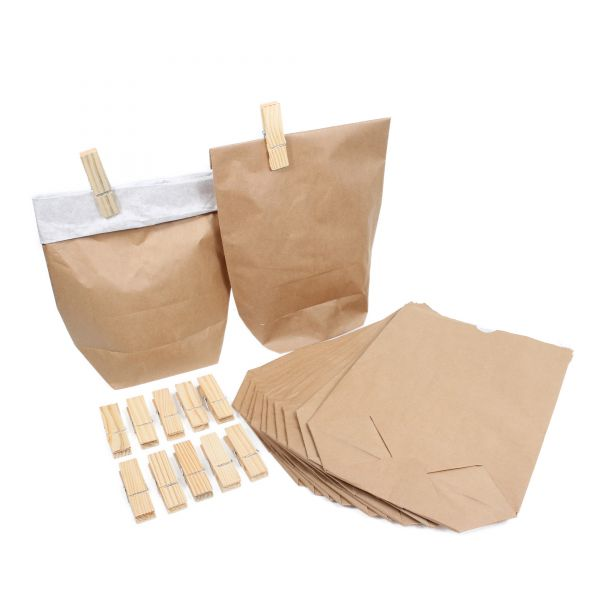 BODA Papierbeutel groß mit Holzklammern, B23,0 x T9,5 x H33,0 cm, 20-tlg.