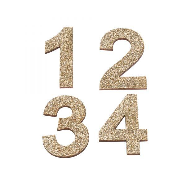Adventszahlen 1-4 Glitter, ca. 5,2 cm, gold
