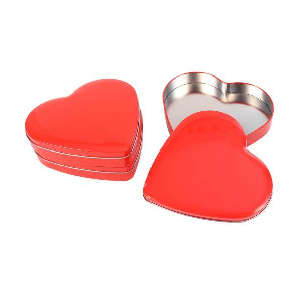 Blechdose mit Deckel Herz, rot, ca. 18 x 17,5 x 3 cm, 3 Stück