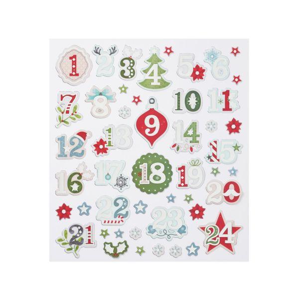 Adventskalenderzahlen 1-24 Sticker, silber-foliert