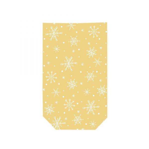 Folienbeutel gold mit weißen Schneeflocken, ca. 11,5 x 19 cm, 10 Stück, inkl. Verschlussclips