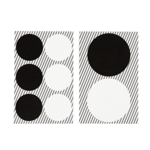 16 runde Sticker, weiß/schwarz Aufkleber Tütenverschlüsse