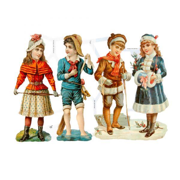 Glanzbilder, Motiv Kinder Vintage XL, 3 Bogen, Poesiebilder Oblaten