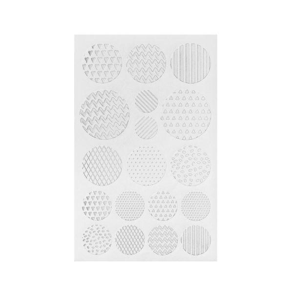 Sticker rund silber-weiß, 36 Stück