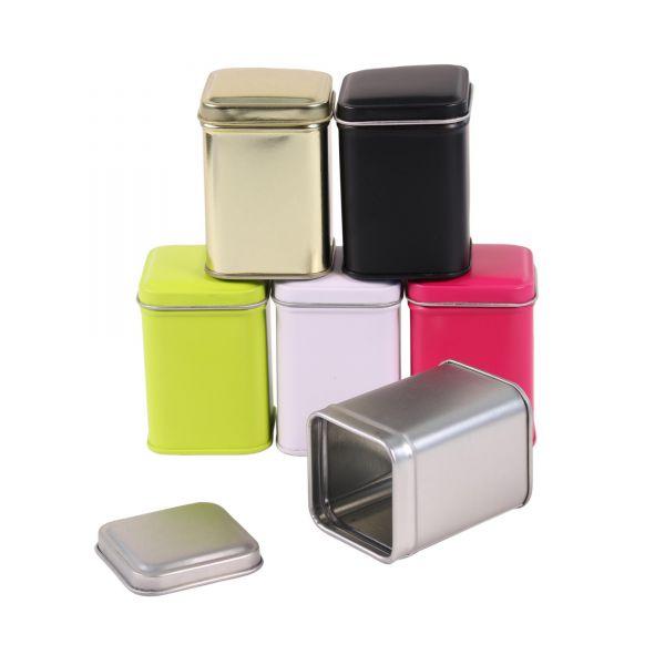 Mini Blechdose mit Deckel B 4,4 x L 4,4 x H 6 cm, 6 Stück