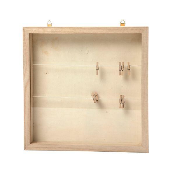 Rahmen mit Scheibe und Wäscheleine ca. 23 x 23 x 3,5 cm Geschenkbox für Geldgeschenke