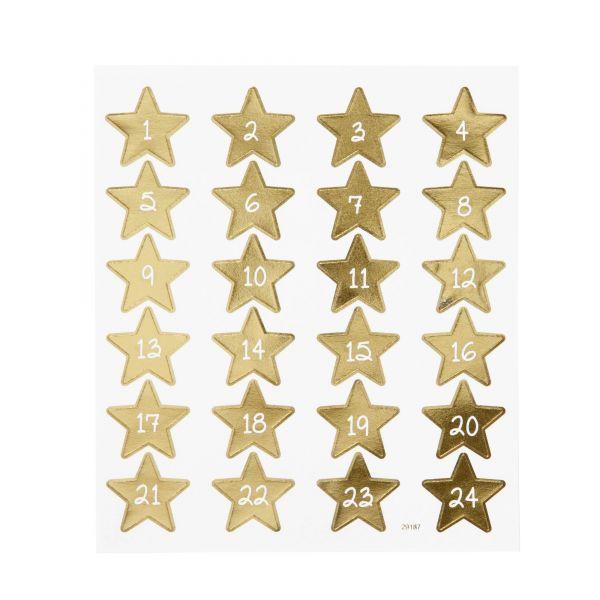 Adventskalenderzahlen 1 - 24, Stern, gold, selbstklebend