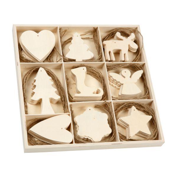 72 Weihnachts-Anhänger Holz, sortiert in 9 Motiven