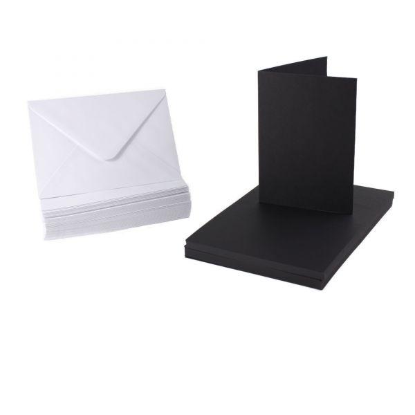 BODA Kartenset DIN A6 schwarze Karten & weiße Umschläge, 100-tlg.