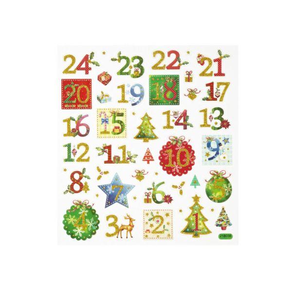 Adventskalenderzahlen 1-24 Sticker, rot grün gold
