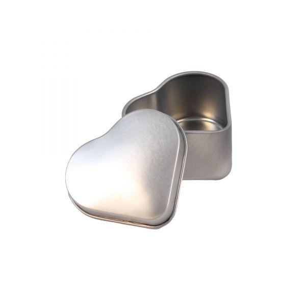 Mini Blechdose mit Deckel Herz, silber, ca. 4,7 x 4,2 x 2,5 cm