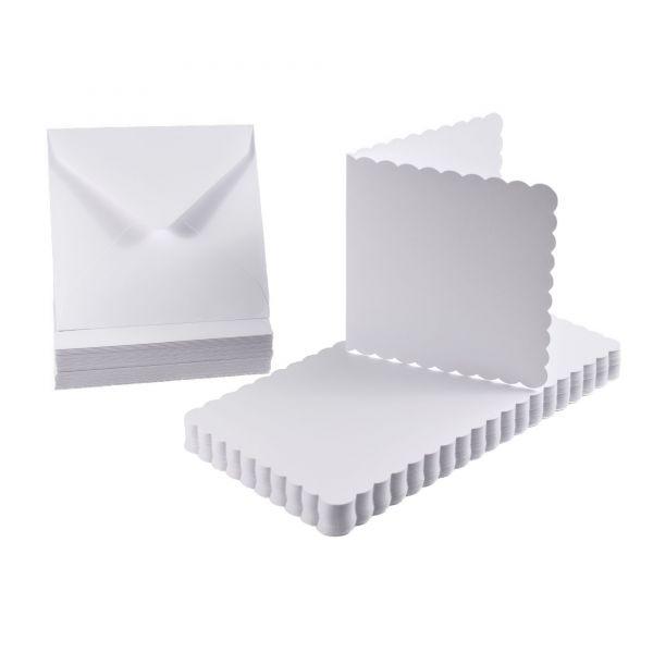 BODA Karten-Set Bogenrand 12,5 x 12,5 cm, weiß, 100-tlg.