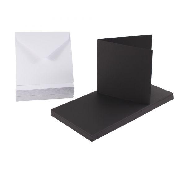 BODA Kartenset 12,5 x 12,5 cm, schwarze Karten & weiße Umschläge, 100-tlg.
