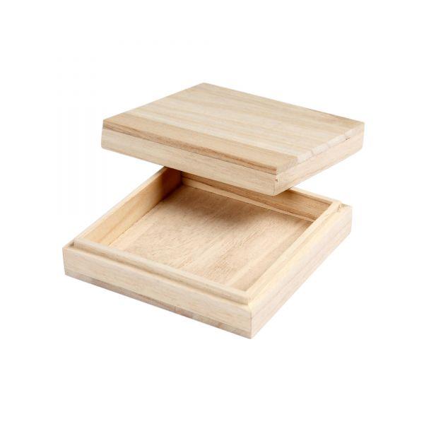Holzschachtel mit Stülpdeckel, ca. 10 x 10 x 3 cm
