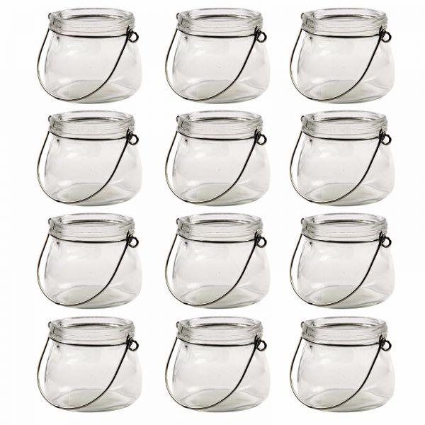 Windlicht Glaslaterne, ca. Ø 7,5 cm x H 6,5 cm, 12 Stück