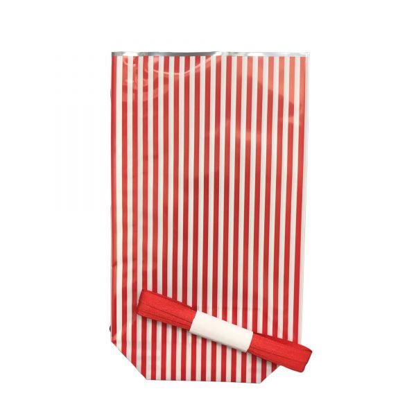 Folienbeutel rot weiß gestreift, ca. 11,5 x 19 cm, 10 Stück, inkl. 3 m Satinband