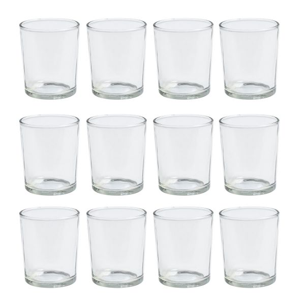 Teelichtglas hoch, ca. Ø 5 cm x H 6,5 cm, 12 Stück