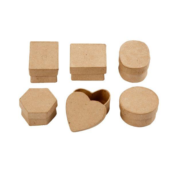 Mini-Schachteln, 48 Stück, sortiert in 6 Designs, aus Pappmaché
