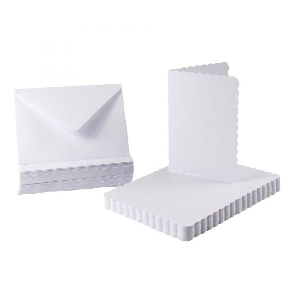 BODA Karten-Set Bogenrand DIN A6, weiß, 100-tlg.