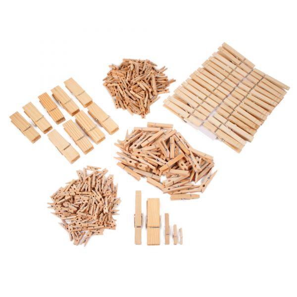 Holzklammer XXL-Paket unterschiedliche Größen, 290 Stück