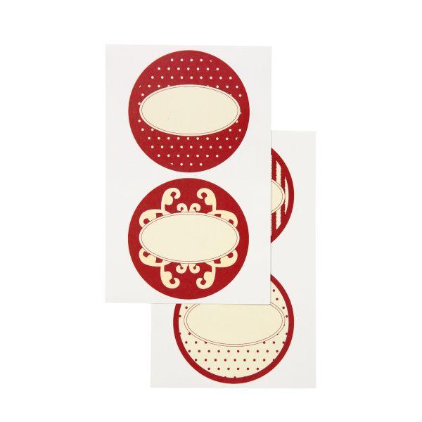 8 runde Sticker Etikett creme/bordeaux, 4 Motive Aufkleber
